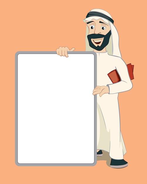 Arabski Biznesmen Trzymając Pionowo Pusty Biały Plakat. Postać Z Kreskówki. Osoba Islam, Zawiadomienie I Biznes Darmowych Wektorów