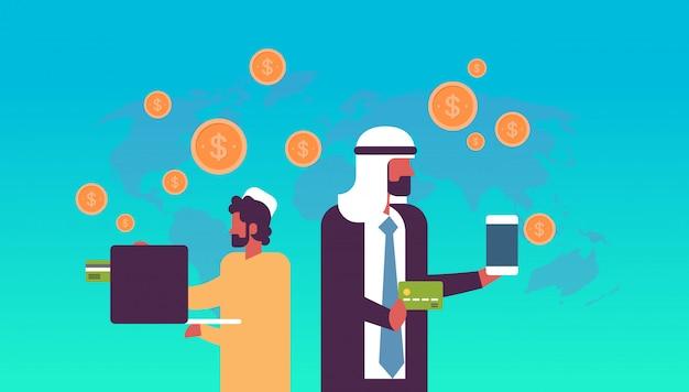 Arabski Ludzi Biznesu Przelew Pieniędzy Aplikacja E-płatności Dolar Monety Globalne Online Wynagrodzenie Koncepcja Płaskie Poziome Kopii Przestrzeni Premium Wektorów