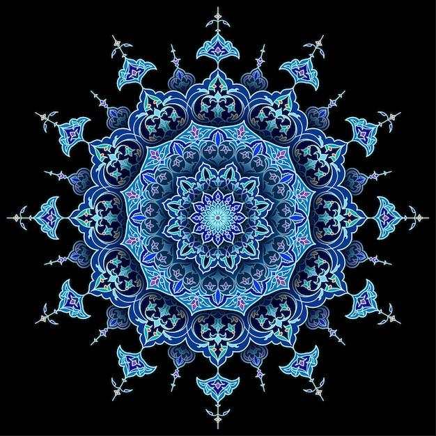 Arabski okrąg kwiatowy islamski tło wektor Premium Wektorów