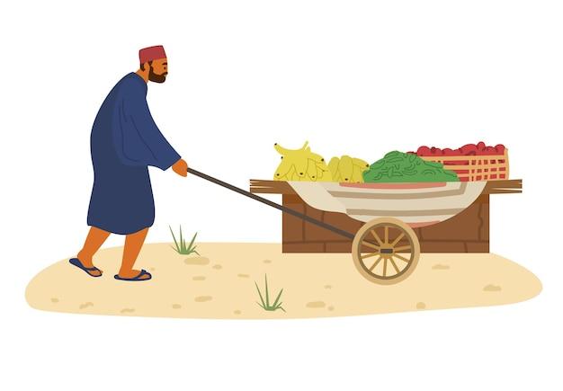 Arabski Sprzedawca Z Wózkiem żywnościowym Z Bananami, Ogórkami I Pomidorami. Handel Na Rynku Rolnym. Premium Wektorów