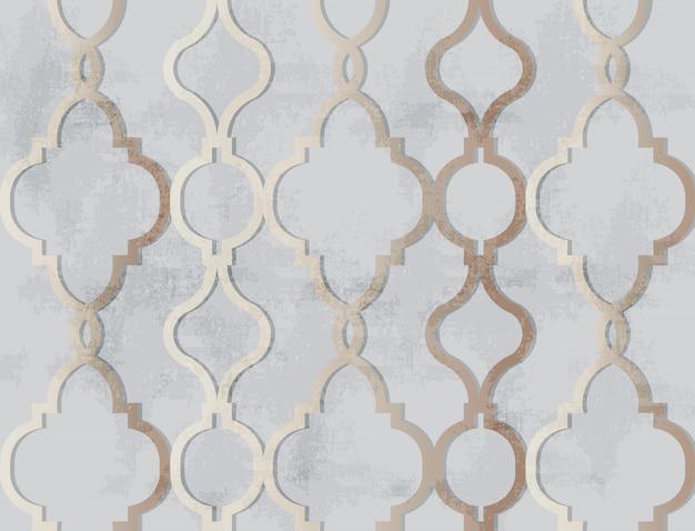Arabski Złoty Ornament Ozdoba. Luksusowe Eleganckie Błyszczące Dekory Premium Wektorów