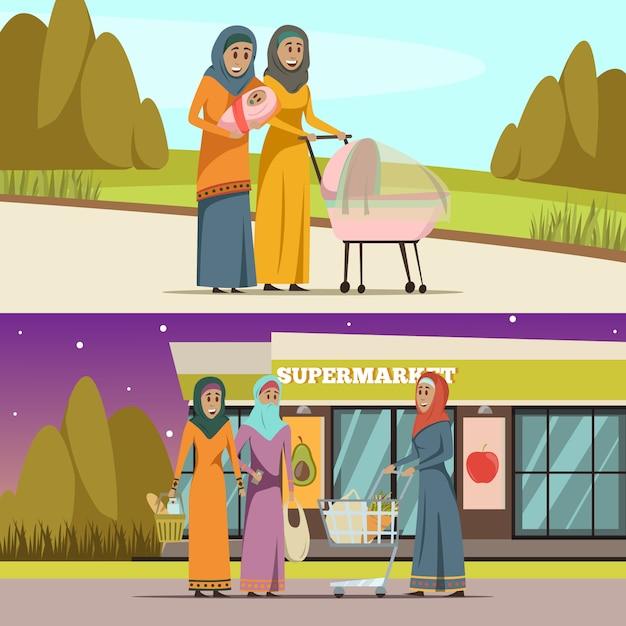 Arabskie kobiety poziome bannery zestaw z zakupy i spacer symbole płaskie na białym tle Darmowych Wektorów