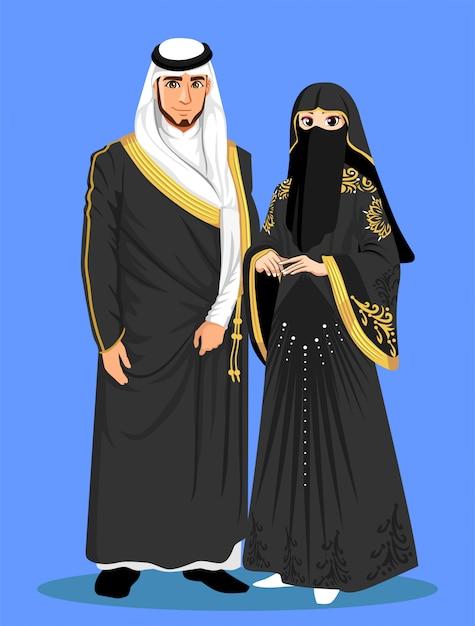 Arabskie Panny Młode Z Czarnych Ubrań. Premium Wektorów