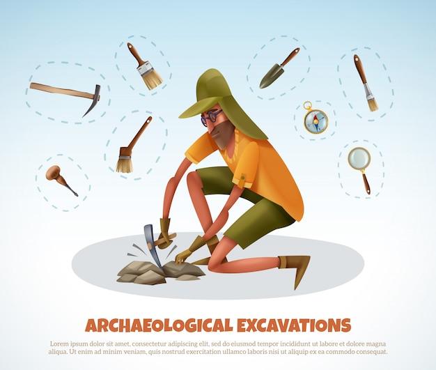 Archeologia Z Doodle Stylu Mężczyzna Kopie Ziemię I Odizolowywa Kawałki Ekskawacja Wyposażenie Z Tekstem Darmowych Wektorów