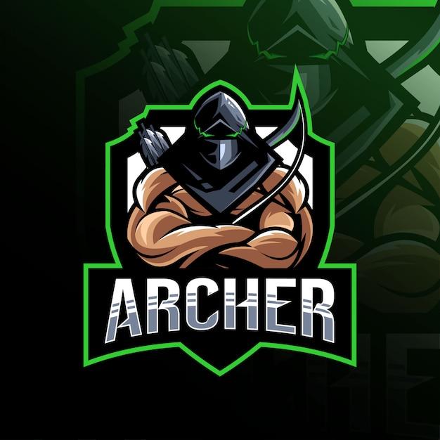 Archer Maskotka Logo Szablon E-sport Premium Wektorów