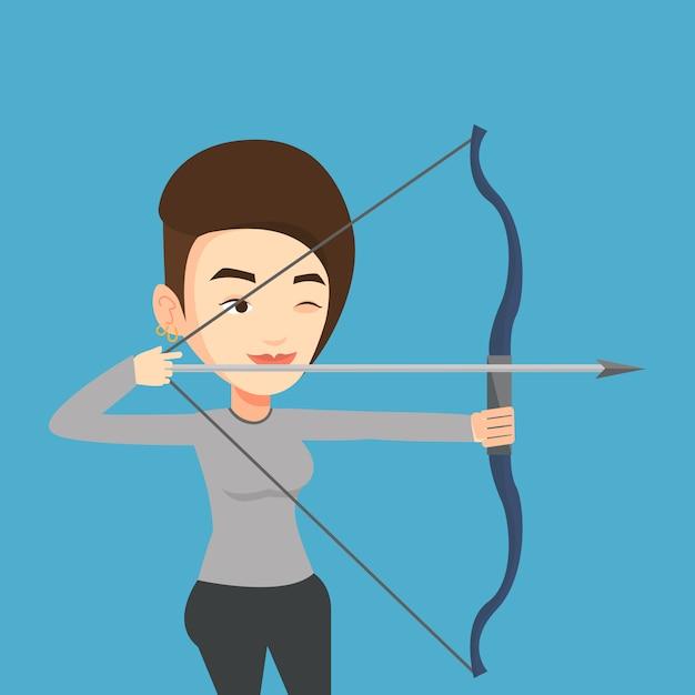 Archer Szkolenia Z Ilustracji Wektorowych łuk. Premium Wektorów