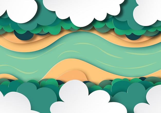 Arial widok na baldachim lasu, chmury i rzeka tło papieru sztuki stylu Premium Wektorów
