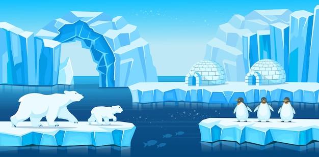 Arktyczny Krajobraz Z Górami Lodowymi, Igloo, Niedźwiedziami Polarnymi, Pingwinami I Morzem Lub Oceanem. Ilustracja Kreskówka Do Gier I Aplikacji Mobilnych. Premium Wektorów