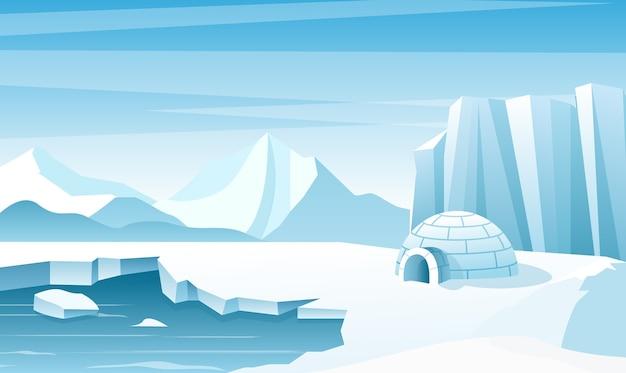 Arktyczny Krajobraz Z Płaską Ilustracją Lodowego Igloo. Dom, Chata Zbudowana Ze śniegu. Lodowe Góry Premium Wektorów