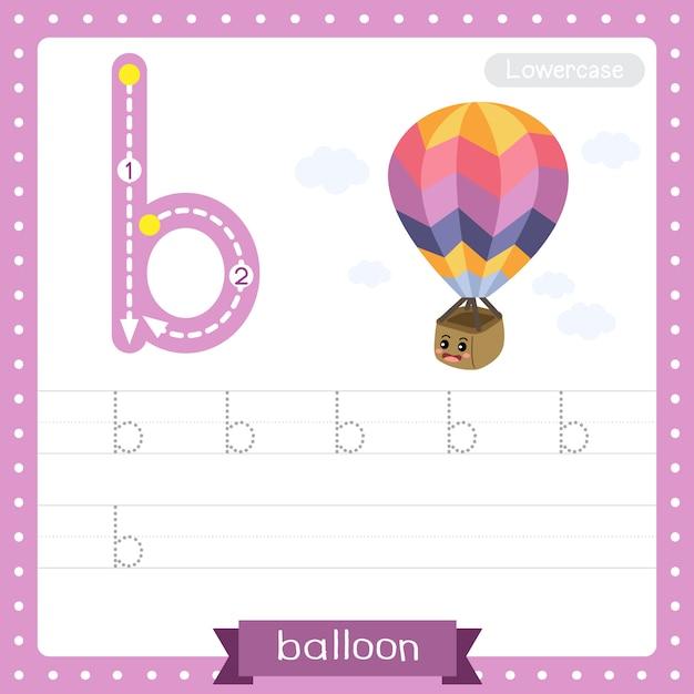 Arkusz ćwiczeniowy śledzenia Małych Liter Na Literę B. Balon Premium Wektorów
