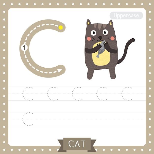 Arkusz ćwiczeniowy śledzenia Wielkich Liter Na Literę C. Stojący Kot Trzyma Ryby Premium Wektorów