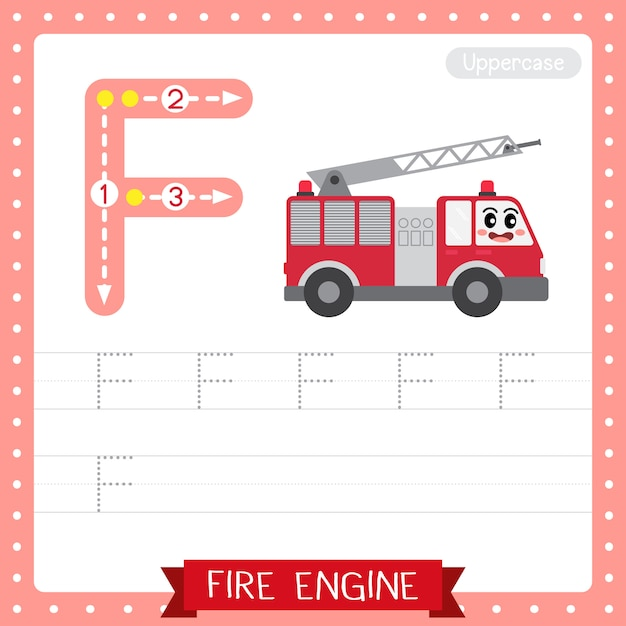 Arkusz ćwiczeniowy śledzenia Wielkich Liter Na Literę F. Fire Engine Premium Wektorów