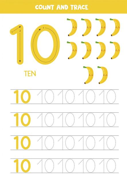 Arkusz Dla Dzieci. Siedem Bananów Kreskówka. Numer śledzenia 10. Premium Wektorów