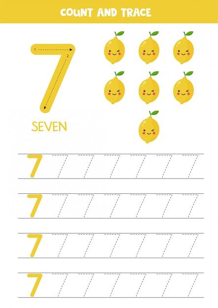 Arkusz Dla Dzieci. Siedem Cytryn Kawaii Kreskówka. Numer śledzenia 7. Premium Wektorów