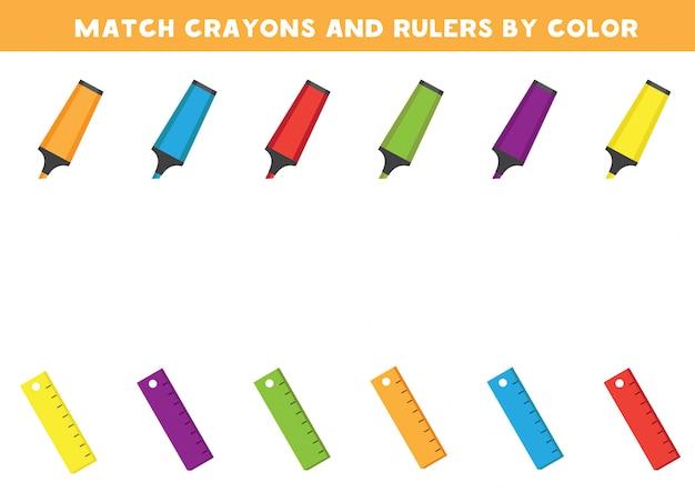 Arkusz Edukacyjny Dla Dzieci W Wieku Przedszkolnym. Dopasuj Kredki I Linijkę Według Kolorów. Premium Wektorów