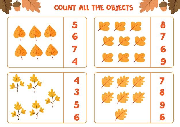 Arkusz edukacyjny dla dzieci w wieku przedszkolnym. policz wszystkie liście. gra matematyki Premium Wektorów