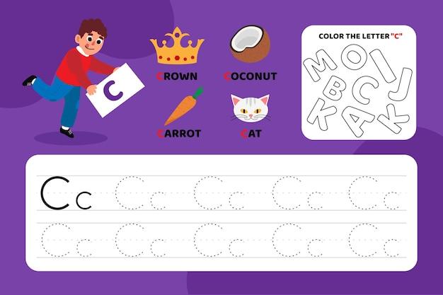Arkusz Edukacyjny Z Literą C Z Ilustracjami Darmowych Wektorów