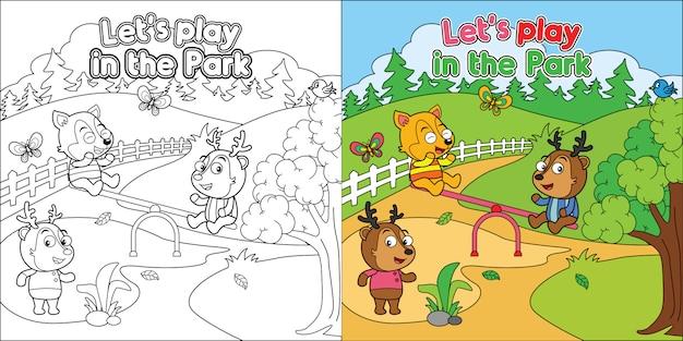 Arkusz Kolorowanki Do Wydruku, Kreskówka Zwierząt Bawiące Się W Parku Premium Wektorów