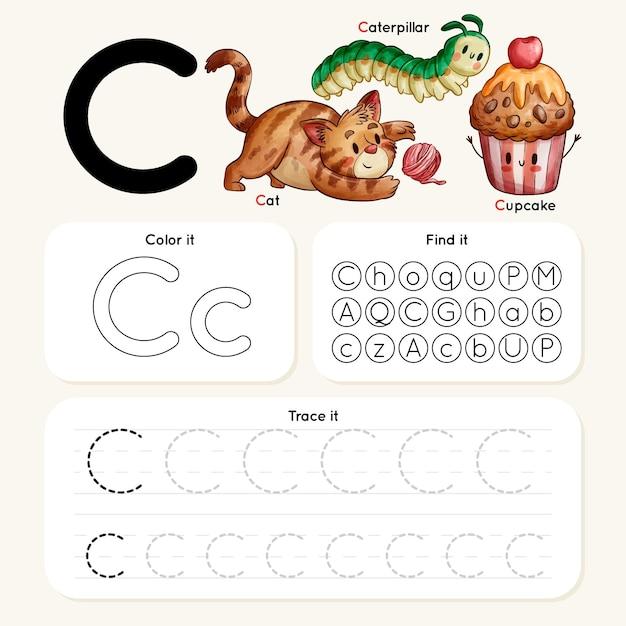 Arkusz Roboczy Litera C Ze Zwierzętami I Babeczką Darmowych Wektorów