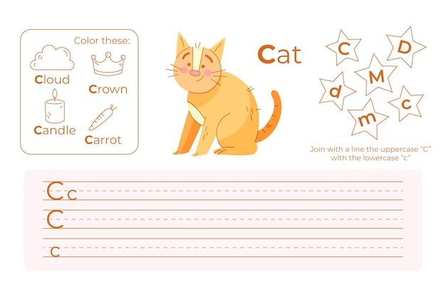 Arkusz Roboczy Z Literą C Z Kotem Darmowych Wektorów