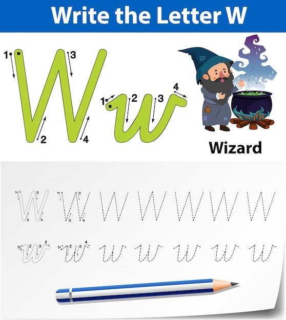 Arkusze Alfabetu śledzenia Litery W Premium Wektorów