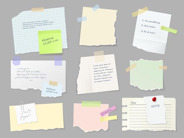 Arkusze Notatek Przymocowane Taśmą Klejącą Premium Wektorów