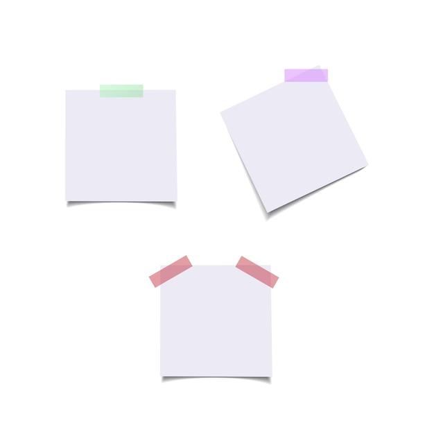 Arkusze Papieru Z Kolorowymi Naklejkami. Premium Wektorów