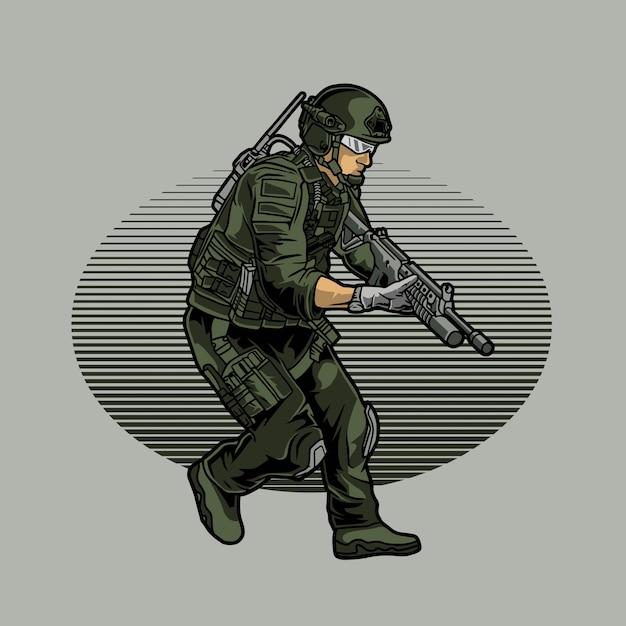 Armia Przygotowuje Się Do Ataku Premium Wektorów