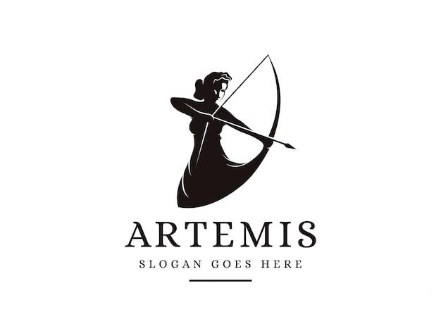 Artemis Goddess Logo Ikona Ilustracja Wektor, Logo łucznika Premium Wektorów