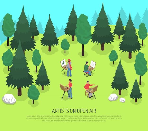Artyści Na świeżym Powietrzu Izometryczny Ilustracja Darmowych Wektorów