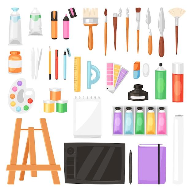 Artysta Wytłacza Wzory Akwarelę Z Paintbrushes Paletą Dla Kolorów Farb Na Kanwie Dla Grafiki W Sztuki Pracownianym Ilustracyjnym Artystycznym Obrazie Ustawiającym Na Białym Tle Premium Wektorów