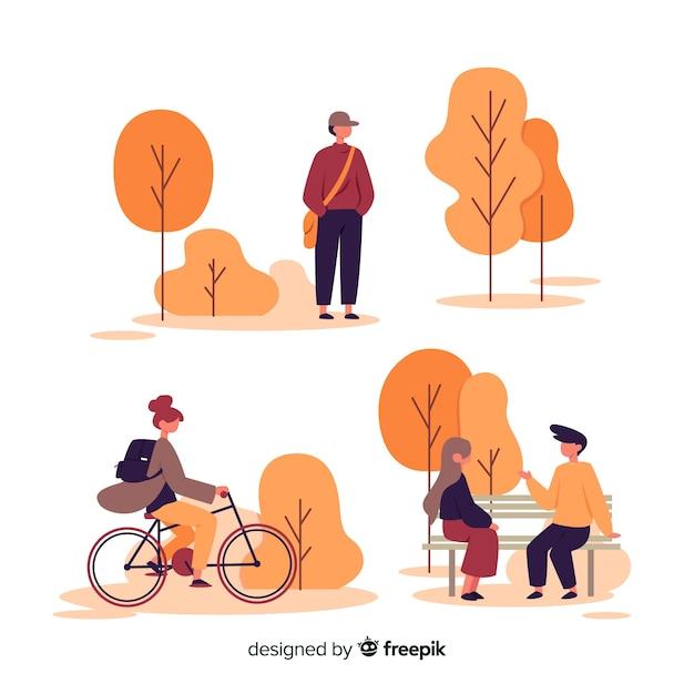 Artystyczna Ilustracja Z Jesień Parkiem Darmowych Wektorów