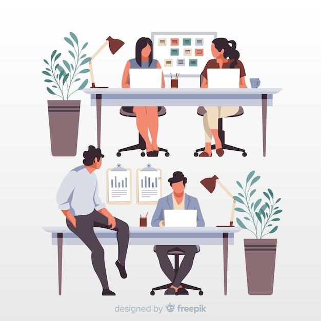 Artystyczni urzędnicy siedzi przy biurkami ilustracyjnymi Darmowych Wektorów
