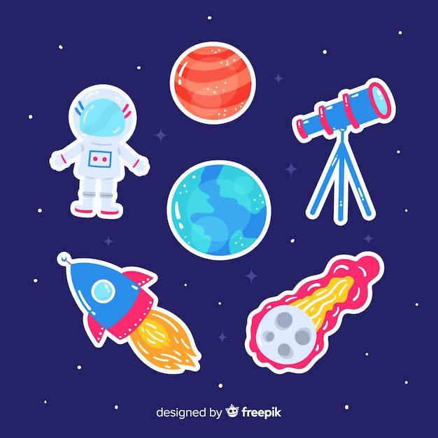Artystyczny rysunek kolekcji naklejek kosmicznych Darmowych Wektorów