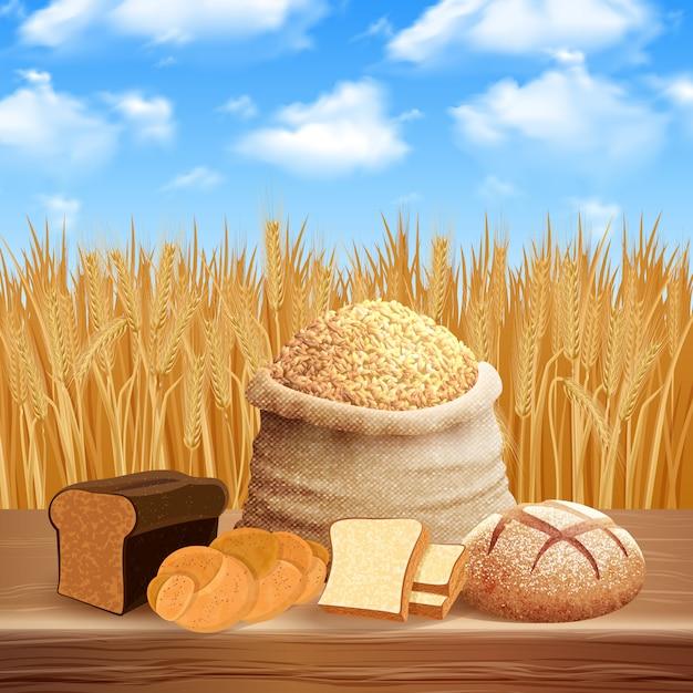 Asortyment Chleba Z Ilustracją Opieki I Upraw Darmowych Wektorów