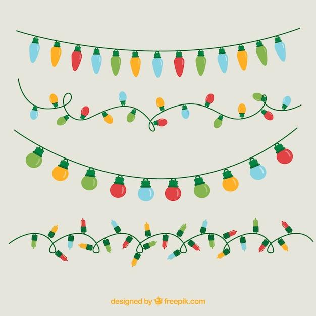 Asortyment Kolorowe Christmas Lights Premium Wektorów