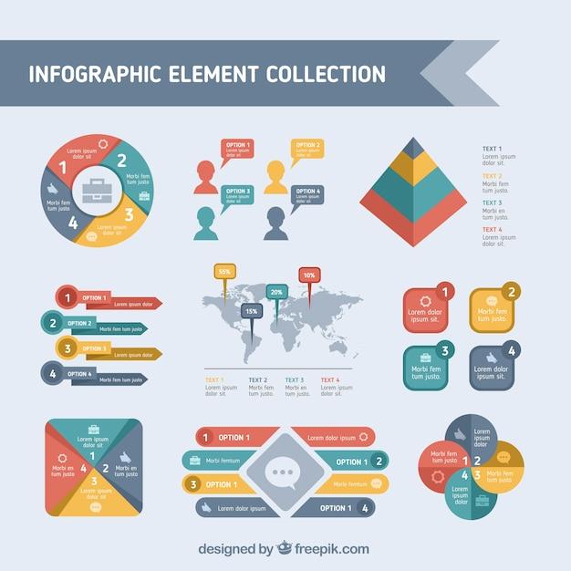 Asortyment Kolorowych Elementów Infographic Darmowych Wektorów