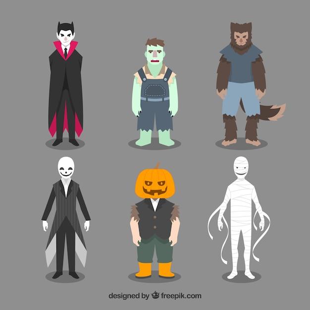 Asortyment kostiumów halloween Darmowych Wektorów