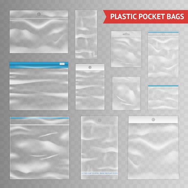 Asortyment plastikowych przezroczystych przezroczystych toreb realistycznych Darmowych Wektorów