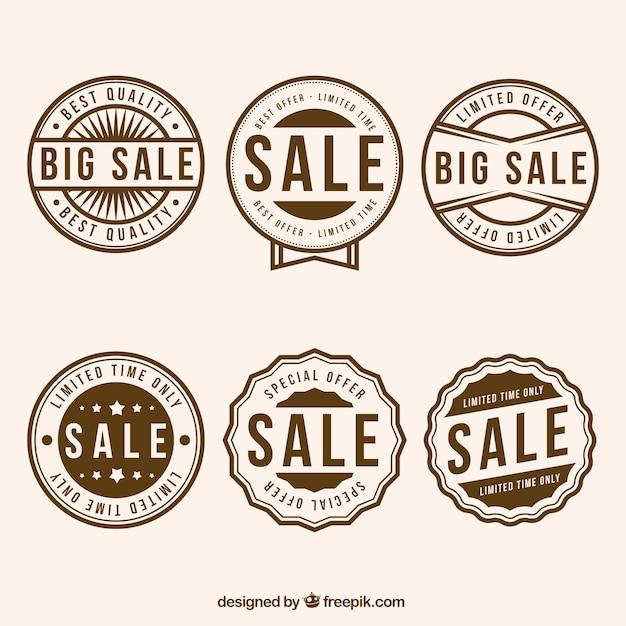 Asortyment sześciu okrągłych znaczków sprzedaży Darmowych Wektorów