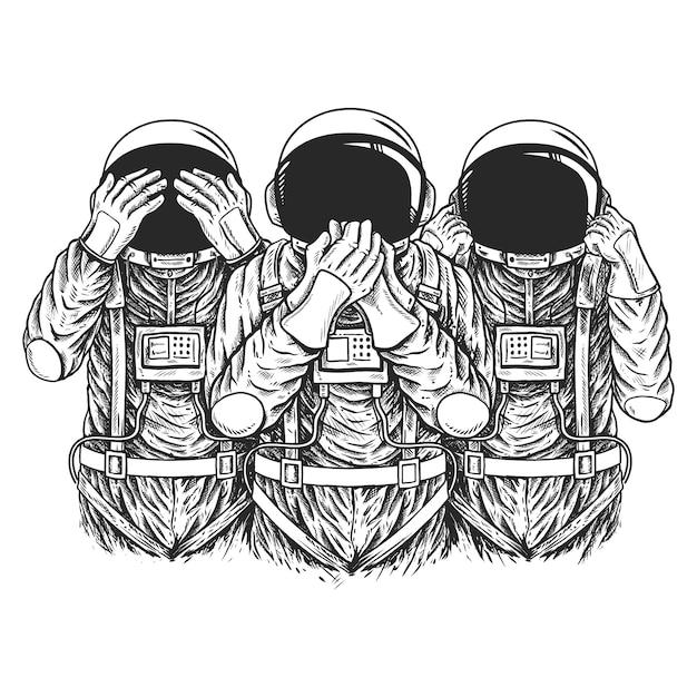 Astronaut Pokaza Symbol Trzy Mądre Małpy Premium Wektorów