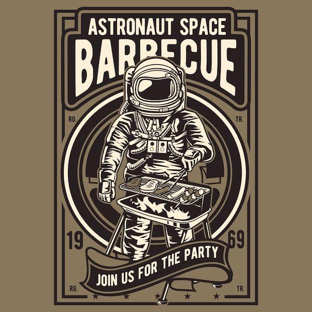 Astronaut space barbecue Premium Wektorów