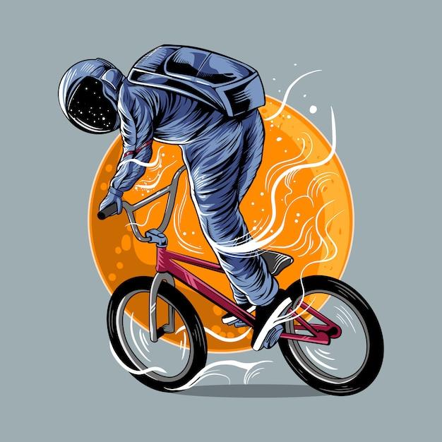 Astronauta Jedzie Bmx Wektorową Ilustracyjną Grafikę Z Księżyc Odizolowywającym Lekkiego Koloru Projektem Premium Wektorów