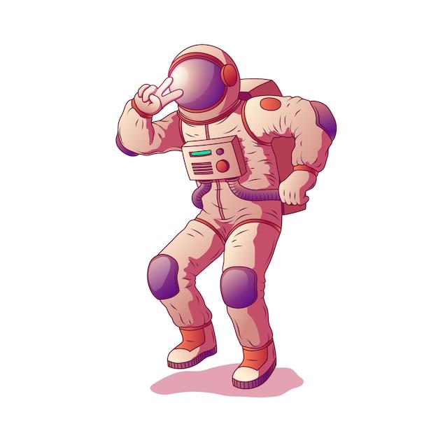 Astronauta lub kosmonauta charakter jest ubranym kostiumu kosmicznego pokazuje gest zwycięstwo Darmowych Wektorów