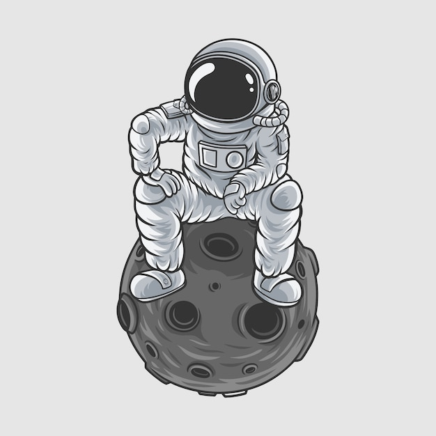 Astronauta mistrz księżyca Premium Wektorów