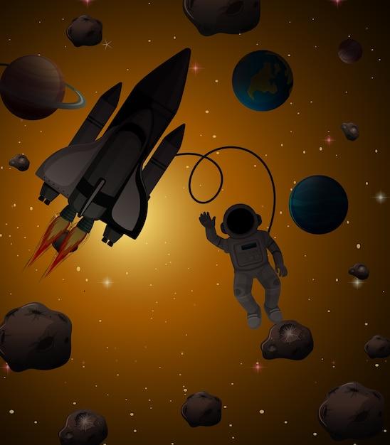 Astronauta Na Scenie Kosmicznej Darmowych Wektorów