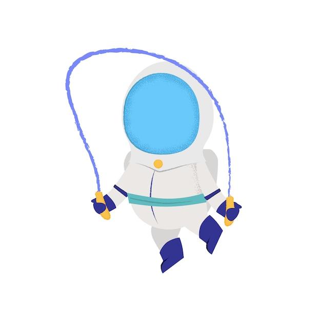 Astronauta skoki z skakanka. spaceman, postać, trening. Darmowych Wektorów