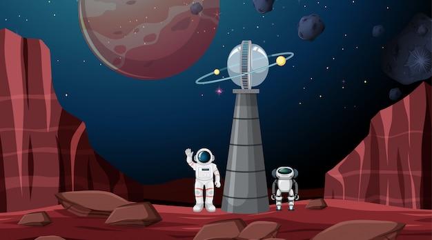Astronauta tła sceny Darmowych Wektorów