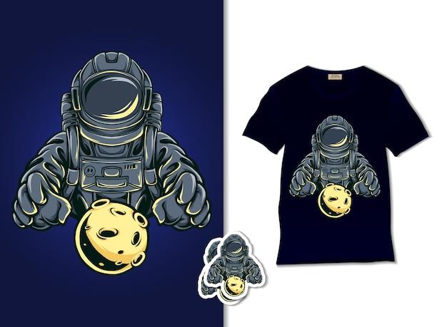 Astronauta Trzymający Ilustrację Księżyca Premium Wektorów