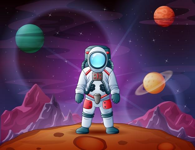 Astronauta W Astronautycznej Sceny Ilustraci Premium Wektorów